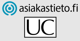 Asiakastieto and UC logotypes